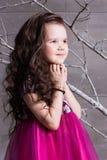 Brunettflickabarn 5 gamla år i en rosa klänning i feriegrå färgrum med trädet royaltyfria foton