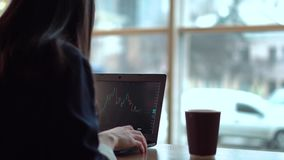 Brunettflickan följer handeldiagrammen på bärbara datorn och dricker ofta kaffe lager videofilmer