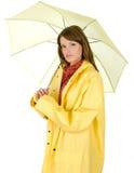 Brunetthåll på ett paraply Arkivbild