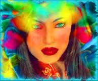 Brunettkvinna i en härlig abstrakt digital konststil Fotografering för Bildbyråer