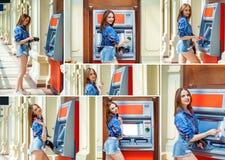 brunettkvinna som återtar pengar från kreditkort på ATM royaltyfri fotografi