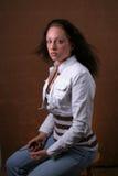 brunettkvinnabarn Royaltyfri Fotografi