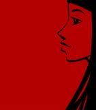 brunettprofil stock illustrationer