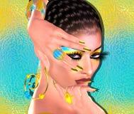 Brunettskönhet och modemakeupbild Färgrik abstrakt bakgrund, 3d framför digital konst med latinsk anstrykning Royaltyfria Bilder
