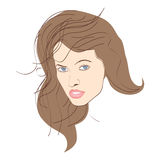 brunettståendekvinna Fotografering för Bildbyråer