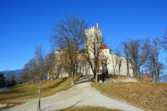 Brunico castle in winter time, sunny day, Bruneck in Puster Valley, South Tyrol, Italy stock image