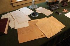 Brunn-bevarade manuskript av ulysses S.Grant på skärm på lån stuga, New York Royaltyfri Foto