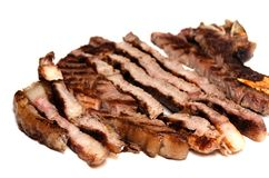Brunn gjord huggen av nötköttbiff Arkivfoto
