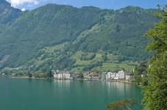 Brunnen,琉森湖,卢赛恩小行政区,瑞士 库存照片