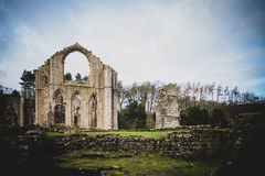 Brunnen Abbey Ruins, Ripon Großbritannien stockfotografie