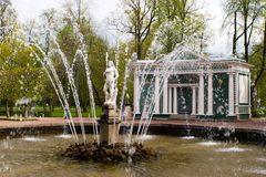 Brunnen Adam. Peterhof Stockfoto