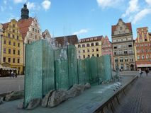 Brunnen auf dem Marktplatz von Breslau lizenzfreies stockfoto