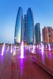 Brunnen an den Etihad-Türmen in Abu Dhabi Lizenzfreie Stockbilder