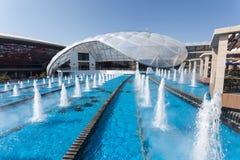 Brunnen an der Ferrari-Welt in Abu Dhabi Stockbild
