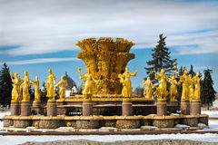 Brunnen der Freundschaft der Völker in Moskau, VDNH stockfotos