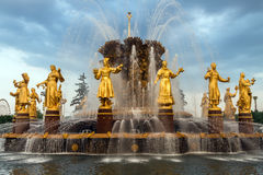 Brunnen der Freundschaft der Völker in VDNH in Moskau stockfotografie