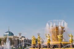 Brunnen der Freundschaft von Nationen in VDNH, Russland, Moskau stockfotos