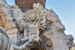 Brunnen der vier Flüsse auf dem Marktplatz Navona, Rom Lizenzfreies Stockfoto