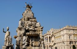 Brunnen der vier Kontinente in Triest, Friuli Venezia Giulia (Italien) stockfoto