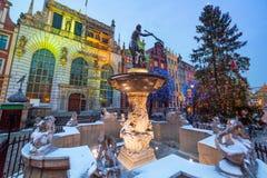Brunnen des Neptun in der alten Stadt von Gdansk Stockbilder