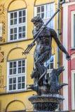 Brunnen des Neptun in der alten Stadt von Gdansk, Polen Stockfotos