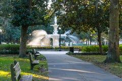 Brunnen in Forsyth-Park, Savanne lizenzfreies stockbild