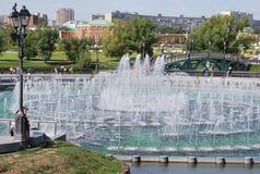 Brunnen im Park Tsarinas in Moskau Stockfotos