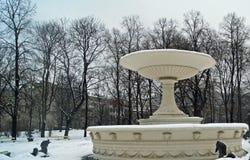 Brunnen im Winter- und Schneeregen lizenzfreies stockfoto
