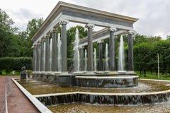 Brunnen ` Löwe-Kaskade ` und die Skulptur der Nymphe Aganippe im Garten des unteren Parks Peterhof, St Petersburg, Russland Stockfotografie