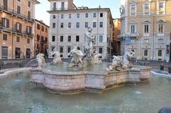 Brunnen-Marktplatz Navona, Rom Stockfotos