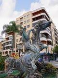 Brunnen mit tänzelndem Pferd in Marbella Andalusien Spanien Stockbilder