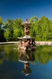 Brunnen am Palast arbeitet am La Granja de San Ildefonso, Segovia, Spanien im Garten Stockfoto