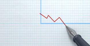 Brunnen Pen Drawing Declining Graph Stockfoto