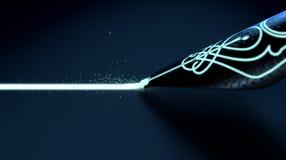 Brunnen Pen Drawing Luminous Line vektor abbildung