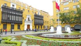 Brunnen in Peru-Quadrat Lima Peru stock video