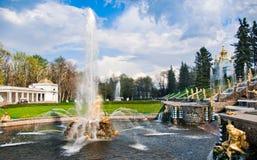 Brunnen in Peterhof Lizenzfreies Stockbild