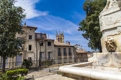 Brunnen am Platz de la Canourgue in Montpellier Stockfotografie