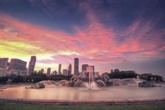 Brunnen-Sonnenuntergang Chicgao Buckingham, Chicago, USA Stockfotografie