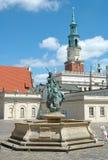 Brunnen und Rathaus ragen auf Markt in Posen hoch Lizenzfreie Stockbilder