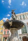 Brunnen von Neptun in der alten Stadt von Gdansk in Polen Stockfotografie