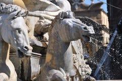 Brunnen von Neptun-Pferden Stockfotografie