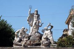 Brunnen von Neptun, Piazza Del Popolo in Rom Stockfoto