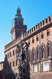 Brunnen von Neptun und von Rathaus im Bologna Stockfoto