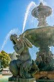 Brunnen von Rossio-Quadrat in Lissabon, Hauptstadt von Portugal lizenzfreies stockbild