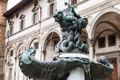 Brunnen von Seeungeheuern auf Marktplatz in Florenz Stockfotografie
