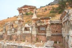 Brunnen von Trajan in Ephesus, die Türkei Lizenzfreies Stockfoto