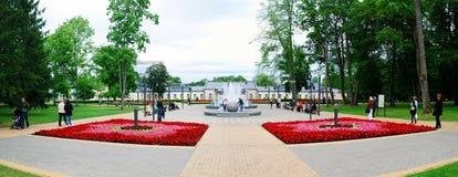 Brunnentanzen mit Musik und ändernde Farben in Druskininkai-Stadt lizenzfreies stockfoto