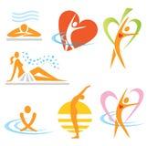 brunnsort för hälsosymbolsbastu stock illustrationer