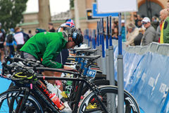 Bruno Matheus preparing before triathlon race Stock Images