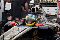 Bruno senna. 13th may 2011 the lotus/renault formula one racing team where testing there car at duxford airfield cambridgeshire england Royalty Free Stock Photo